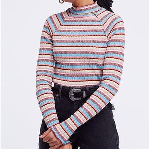 FREE PEOPLE Mirror Tee Multicolor Stripe Mock Neck